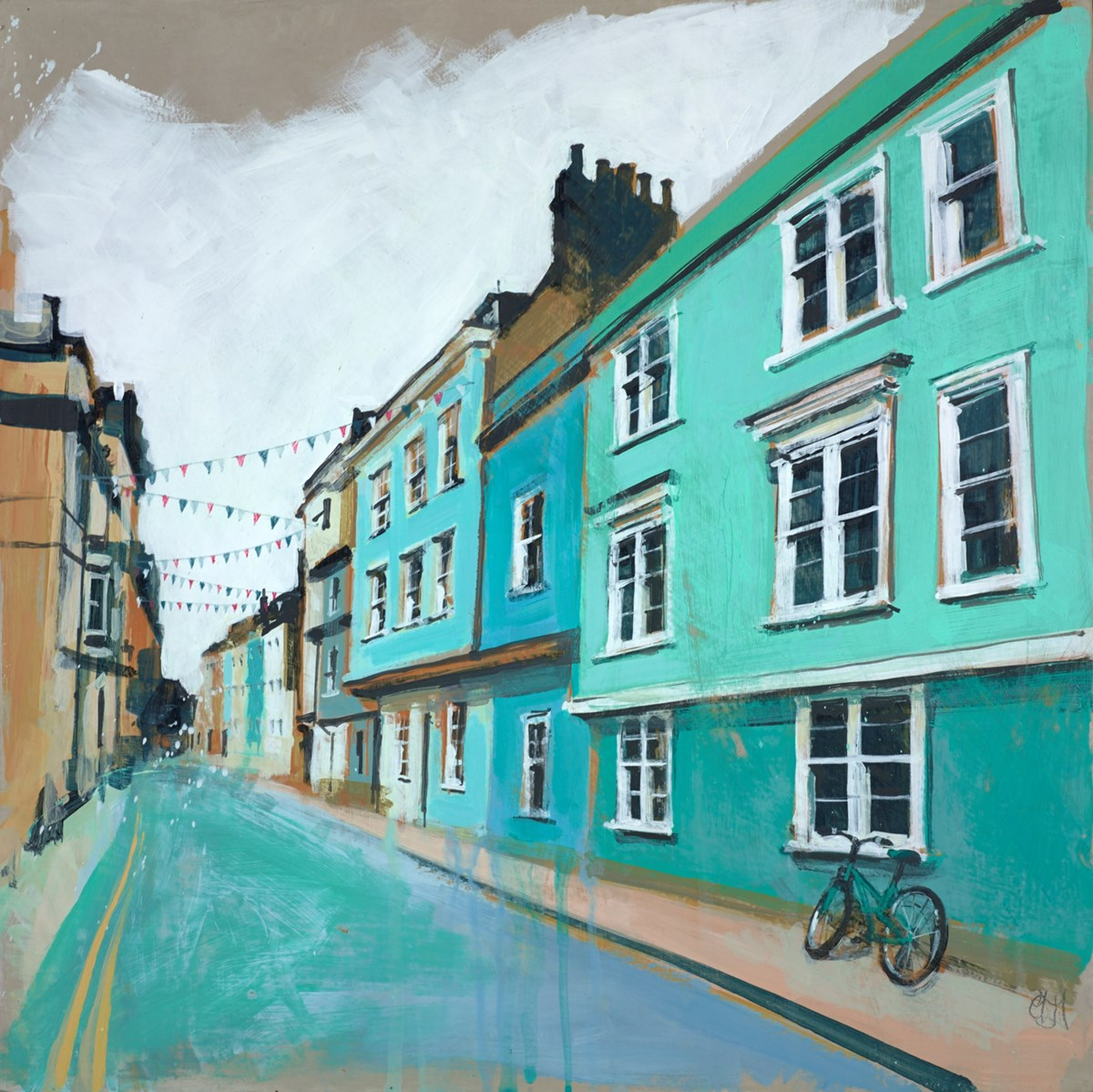 Bicycle & Bunting II by camilla dowse -  sized 16x16 inches. Available from Whitewall Galleries